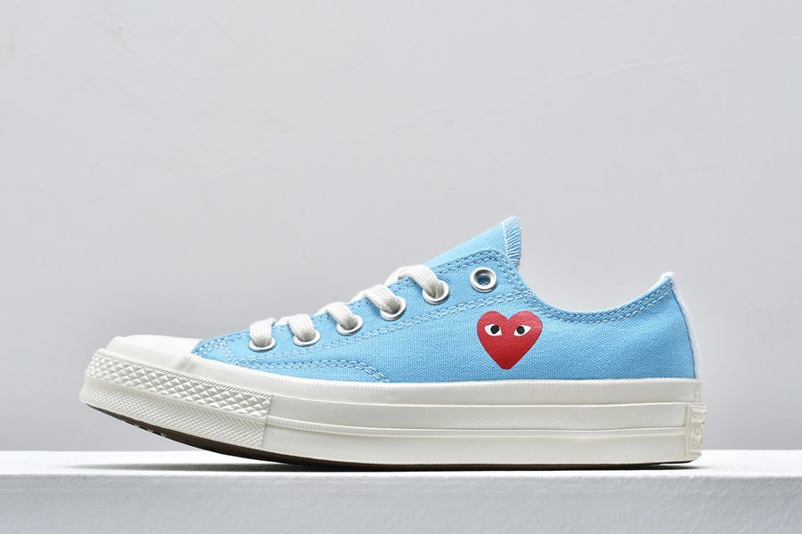 CDG PLAY x Converse Chuck Taylor All-Star 70s Low Bright Blue For Sale
