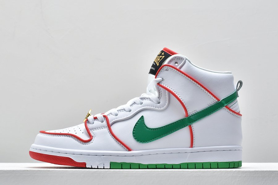 Paul Rodriguez x Nike SB Dunk High White University Red-Green For Sale