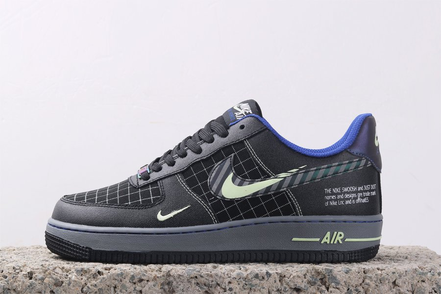 Air Force 1 Low Future Swoosh Black Cool Grey Vapor Green Racer Blue For Sale