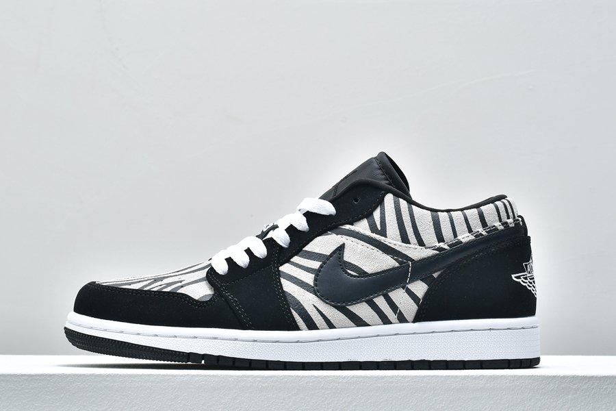 Air Jordan 1 Low Zebra Print Black White 553560-057 For Sale