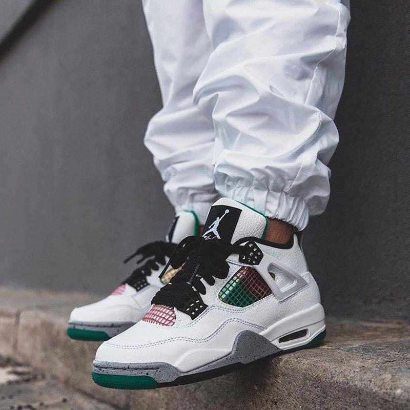 Air Jordan 4 Retro Rasta Lucid Green On Feet