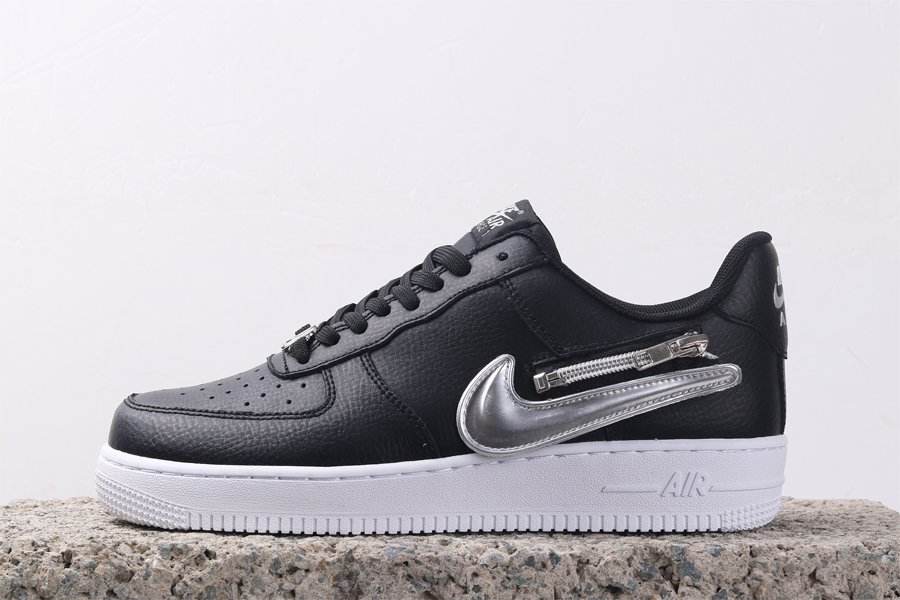 Black Nike Air Force 1 Low Zip Swoosh CW6558-001 For Sale