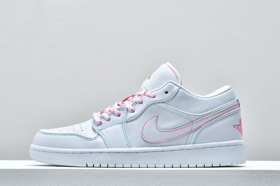 Buy Air Jordan 1 Low GS White Pink Aurora Green Online