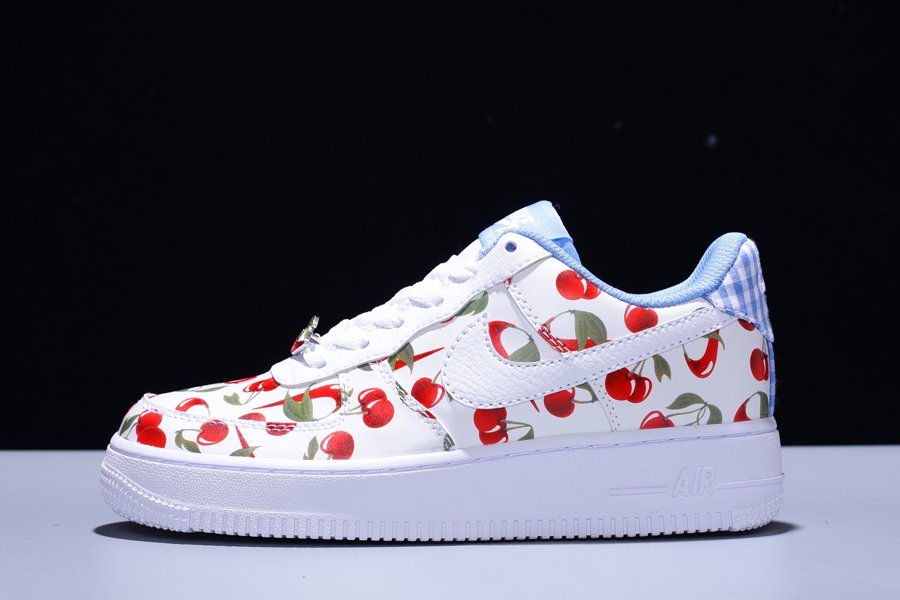 Grade School Size Nike Air Force 1 Low Cherry White Red Blue For Sale