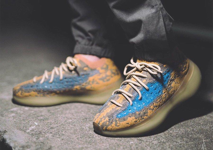 adidas Yeezy Boost 380 Blue Oat Reflective On Feet