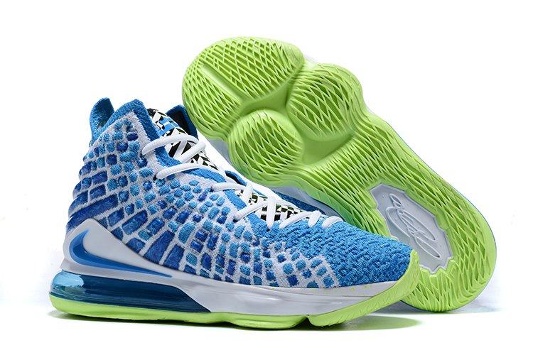 Mens Nike LeBron 17 Sprite Photo Blue Ghost Green On Sale