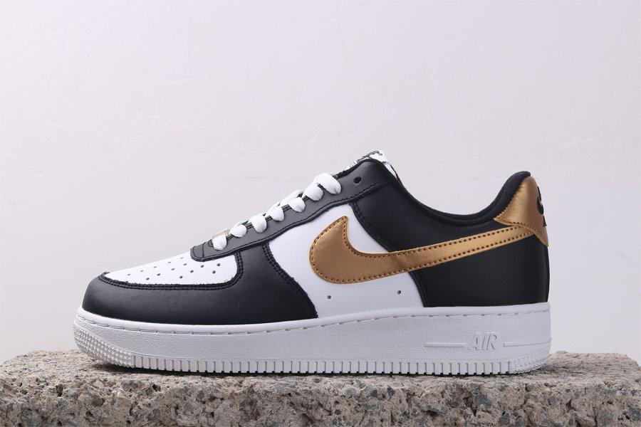 Nike Air Force 1 Low Black White Metallic Gold CZ9189-001 Cheap Sale