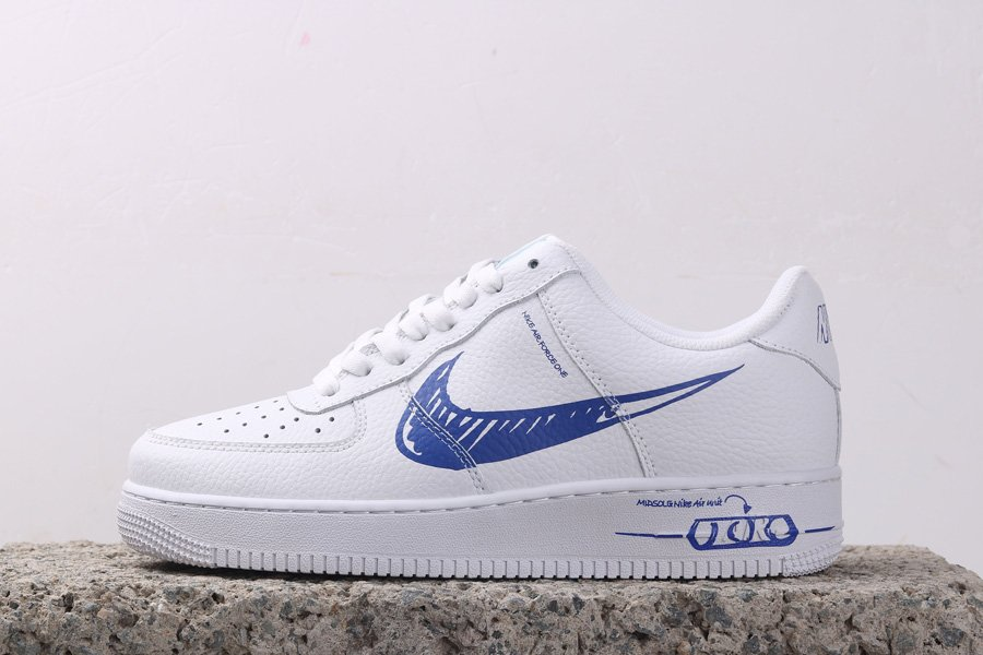 Nike Air Force 1 Low Sketch White Game Royal CW7581-100 For Sale