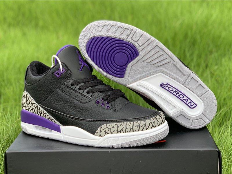 2020 Air Jordan 3 Black Cement Grey-White-Court Purple CT8532-050 For Sale