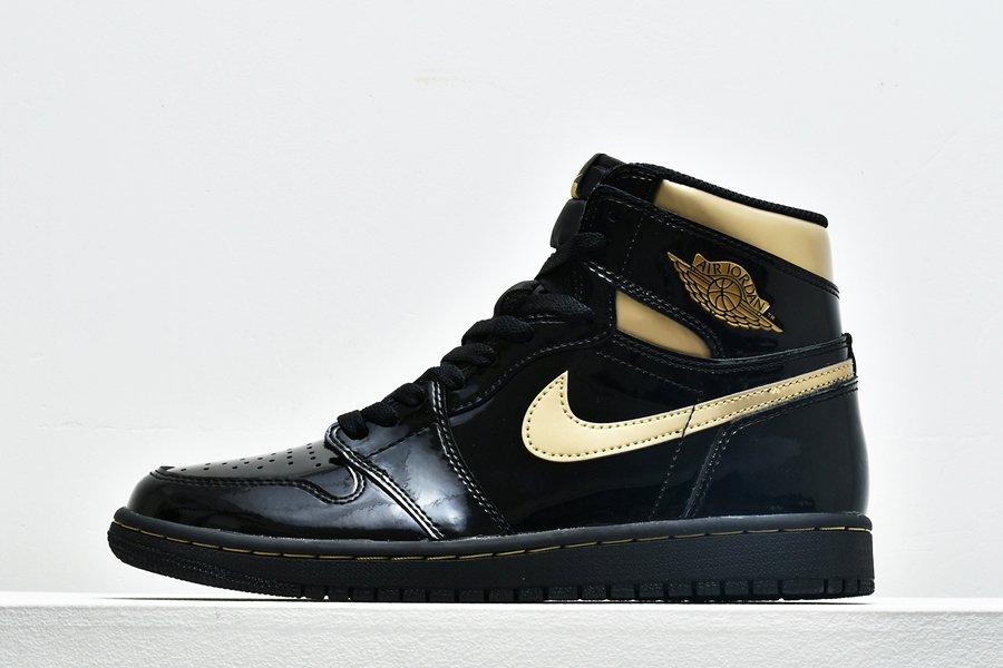 Air Jordan 1 High OG Patent Leather Black Metallic Gold For Sale