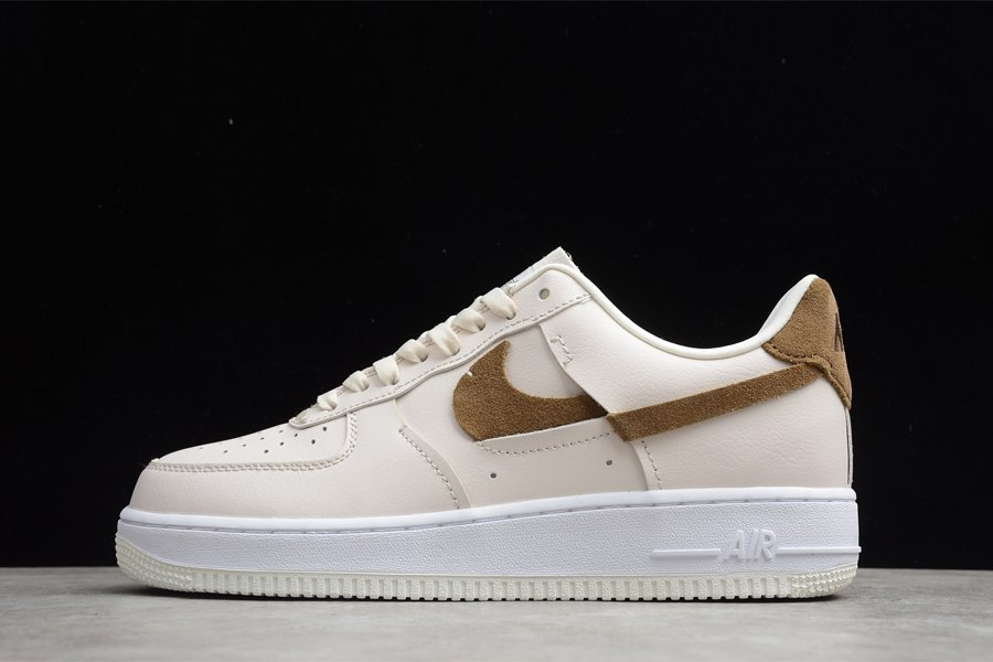 Beige Nike Air Force 1 LXX Vandalised With Pink and Brown Swooshes