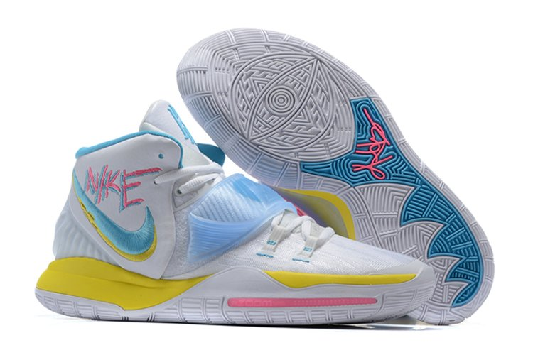 Nike Kyrie 6 Neon Graffiti With Vintage Logos In White Cheap Sale