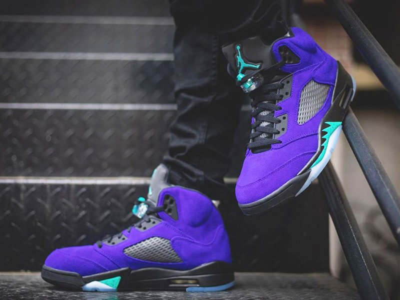 Purple Air Jordan 5 Alternate Grape 136027-500 On Feet