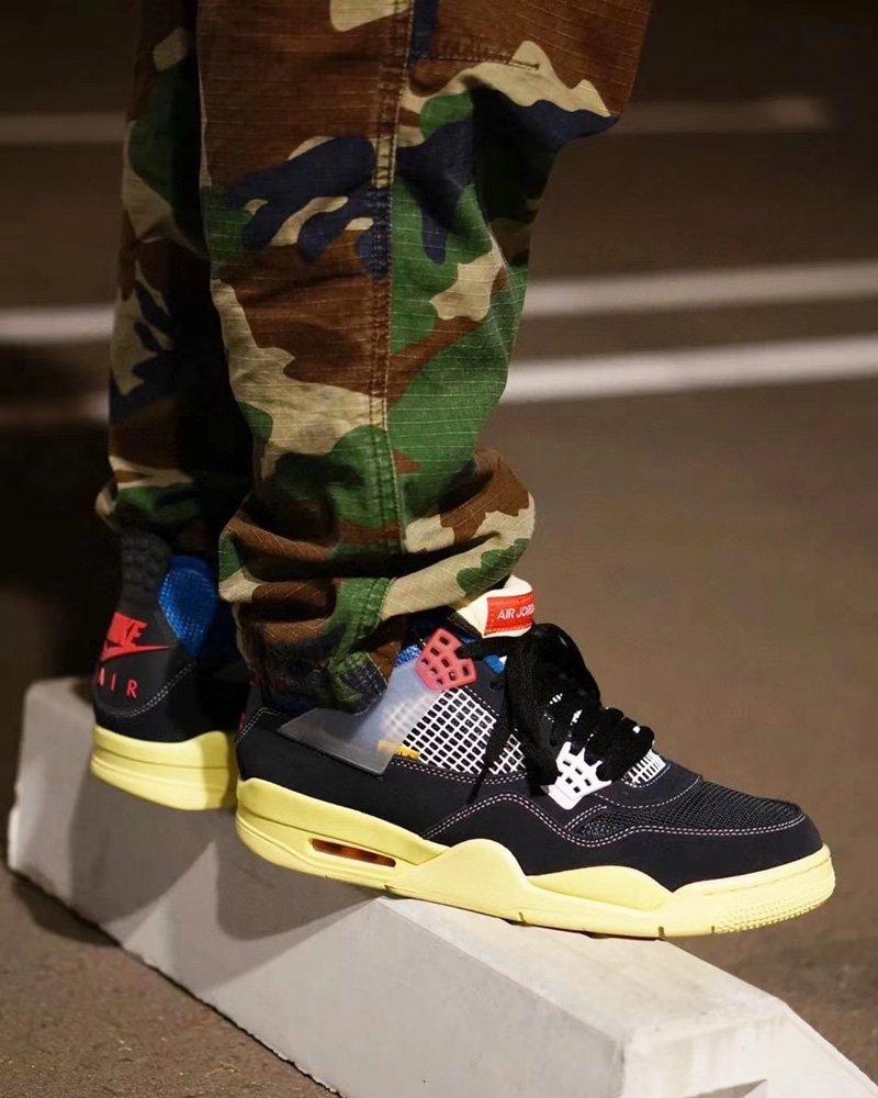 Air Jordan 4 x Union Retro SP Off Noir On Feet