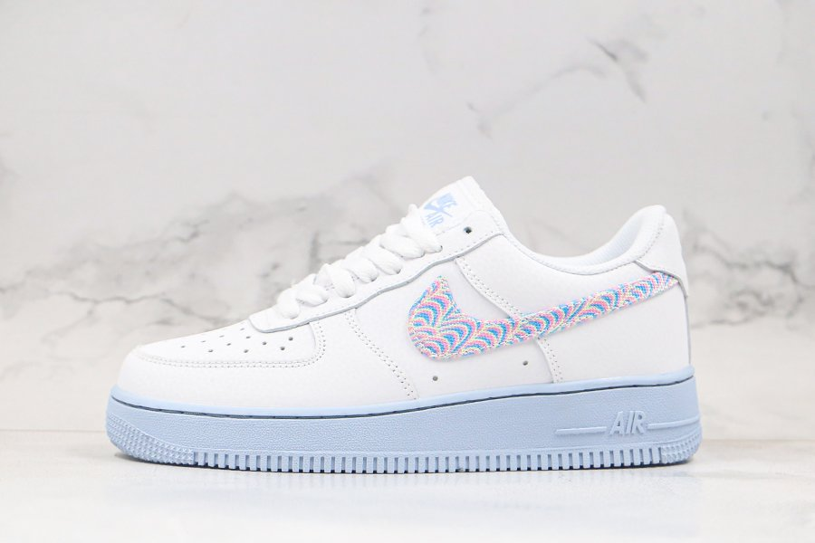 Buy Nike Air Force 1 07 White Hydrogen Blue With Stylish Swooshes