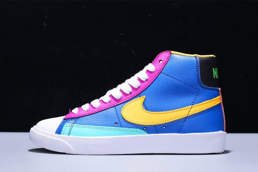 Colorful Mismatched Panels Nike Blazer Mid 77 Battle Blue Aurora-Vivid Purple