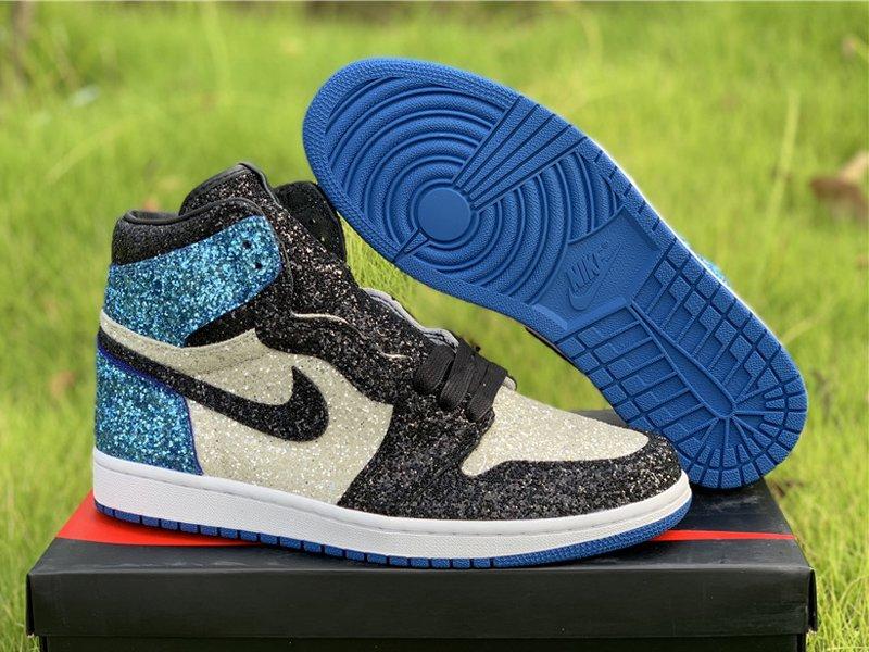 Fragment Design x Air Jordan 1 Glitter Customs Blue White Black