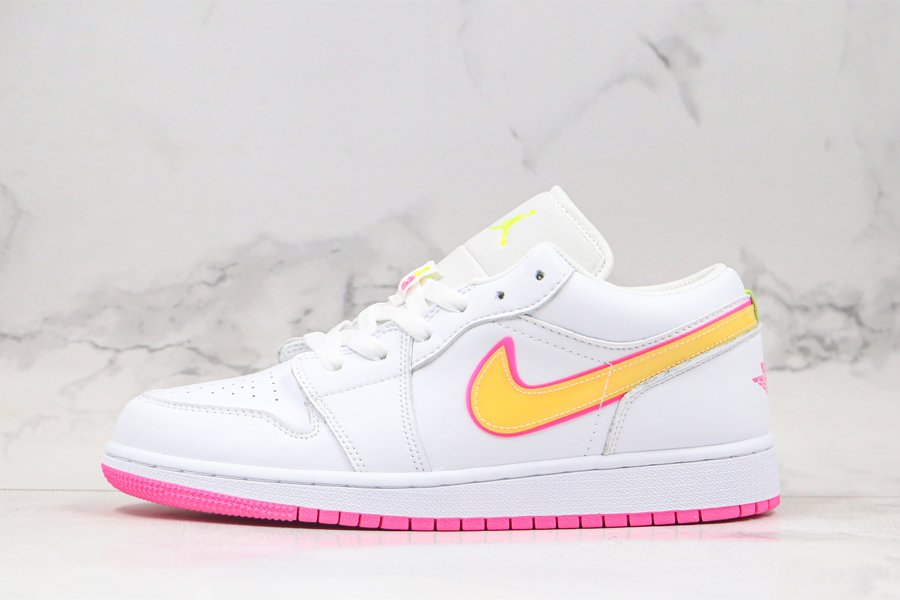 Kids-Exclusive Air Jordan 1 Low GS White Pink Yellow For Sale