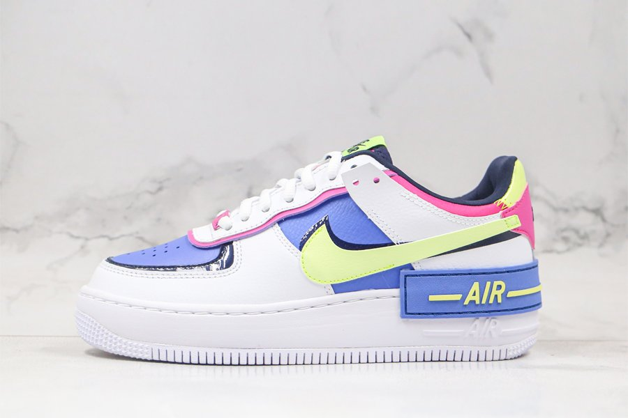Nike Air Force 1 Shadow White Barely Volt Blue Pink