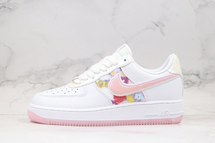 White Pink Nike Air Force 1 Low Come With Flower-print and Rose Details