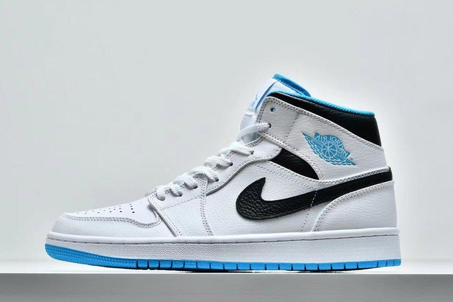 Air Jordan 1 Mid White Laser Blue-Black 554724-141 On Sale
