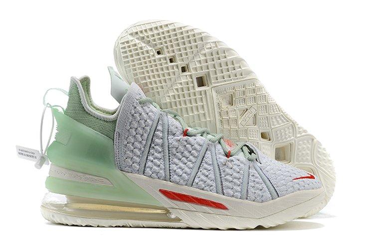 Men and Womens Nike LeBron 18 Grey Jade Basketball Shoes