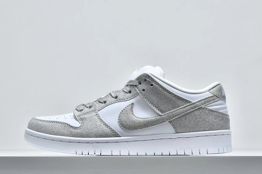 New Nike SB Dunk Low Pro Shiny Silver White To Buy