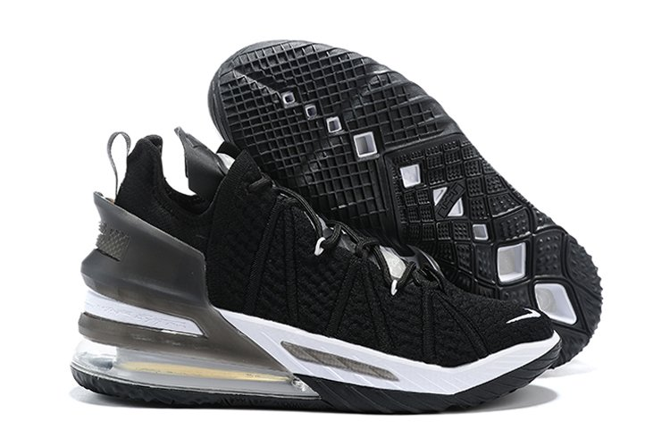 Newest Signature LeBron 18 Black White Basketball Sneakers