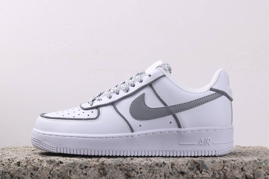 Nike AF1 Low White 3M Reflective On The Swoosh and Shoelace