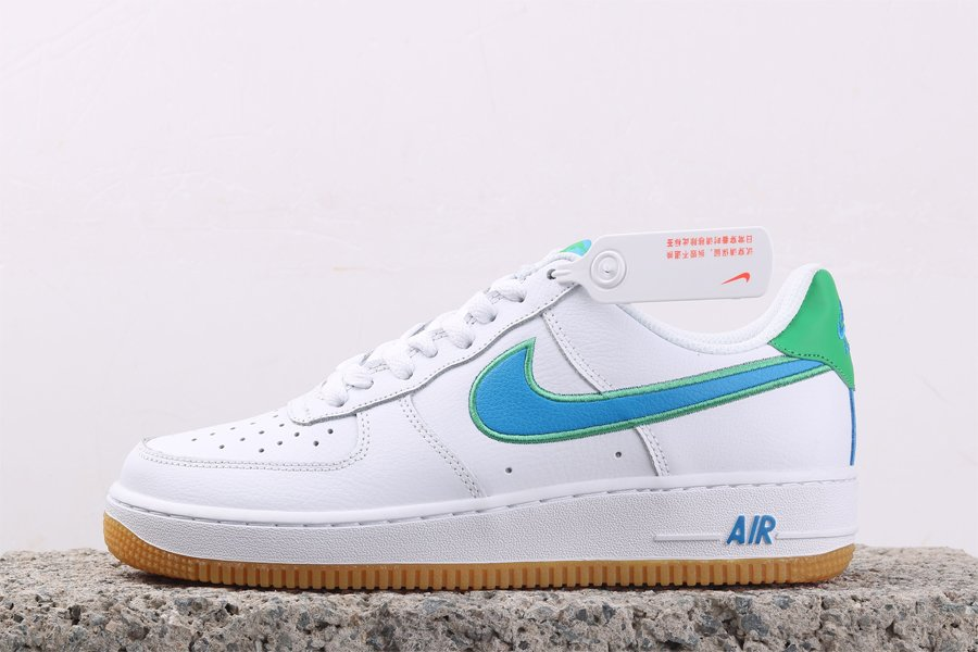 Nike Air Force 1 Low White Bright Blue-Lime Green-Gum DA4660-100 For Sale