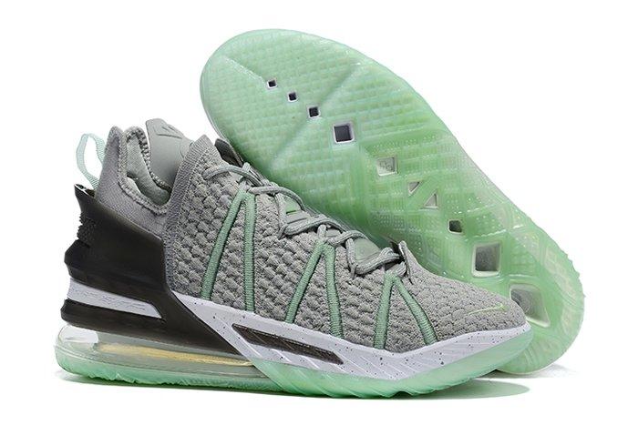 Nike LeBron 18 Gray Green Basketball Shoes On Sale Now