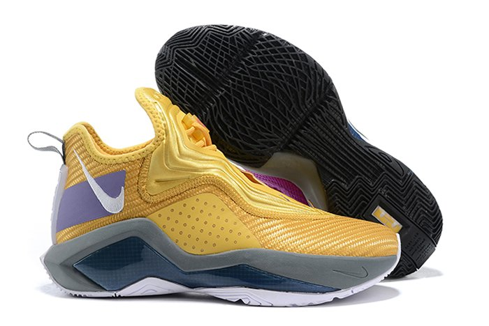 Mismatched Nike LeBron Soldier 14 Maize Yellow Purple