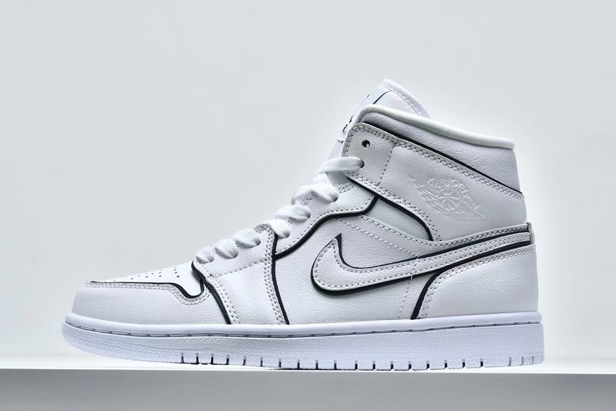 WMNS Air Jordan 1 Mid Iridescent Outline Reflective White For Sale