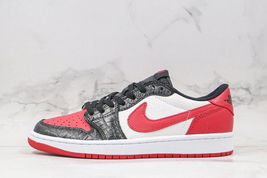 Air Jordan 1 Low Snakeskin White Black Red To Buy