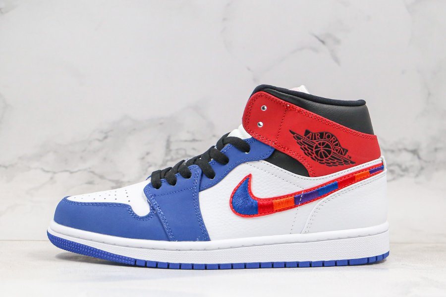 Brand New Air Jordan 1 Mid Multi-Color Embroidered Swoosh Outlet