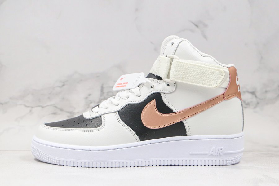 Nike Air Force 1 High Beige Black With Copper Swooshes Outlet