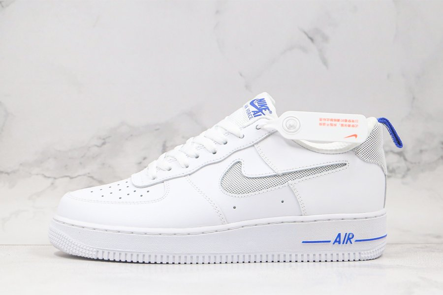 Nike Air Force 1 Low Cut Out Swoosh White Blue For Sale