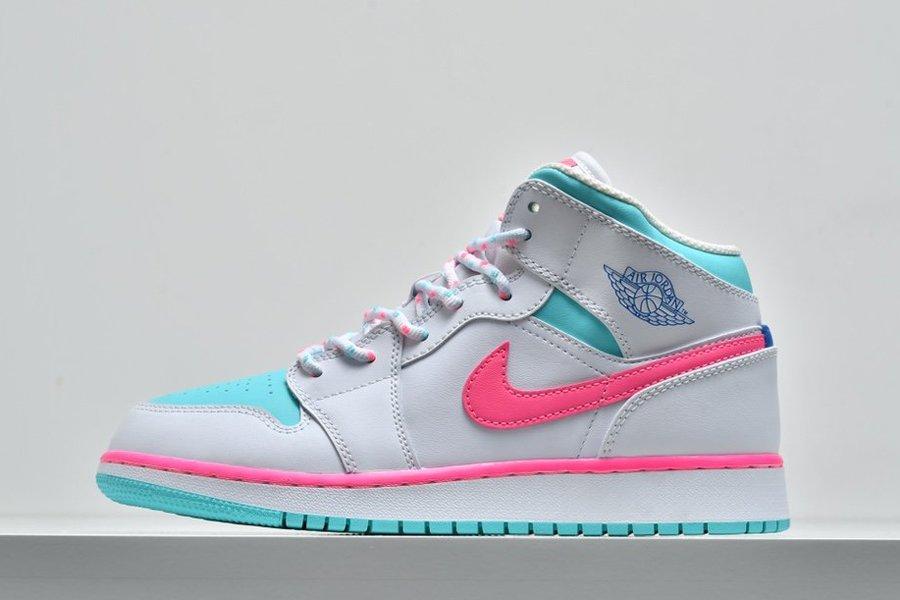 Air Jordan 1 Mid GS White Digital Pink-Aurora Green-Soar