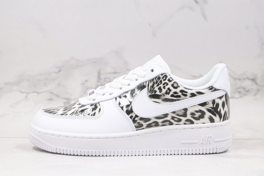 Custom Nike Air Force 1 Low Leopard Print White Black For Sale