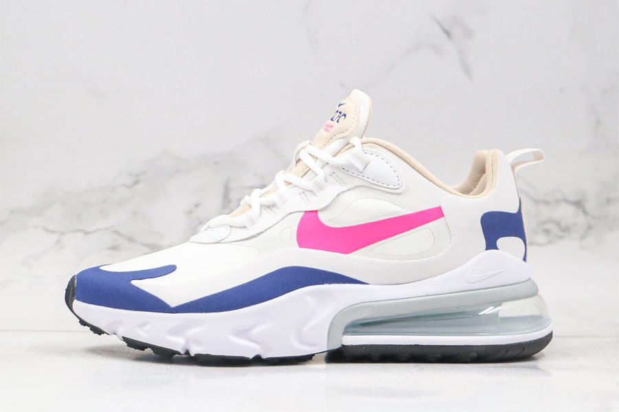 Ladies Nike Air Max 270 React White Navy Pink For Sale