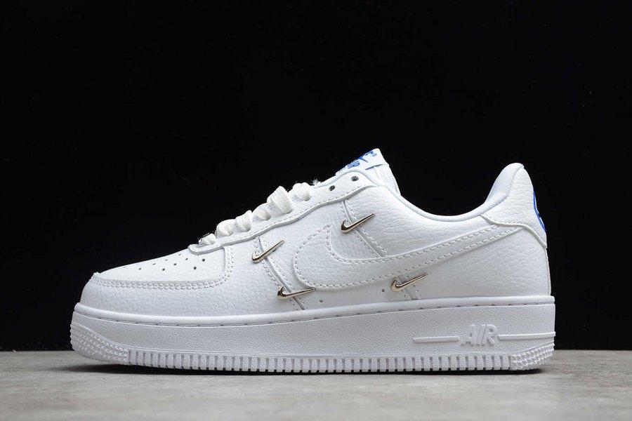 New Nike Air Force 1 07 LX Mini Metallic Swoosh In White