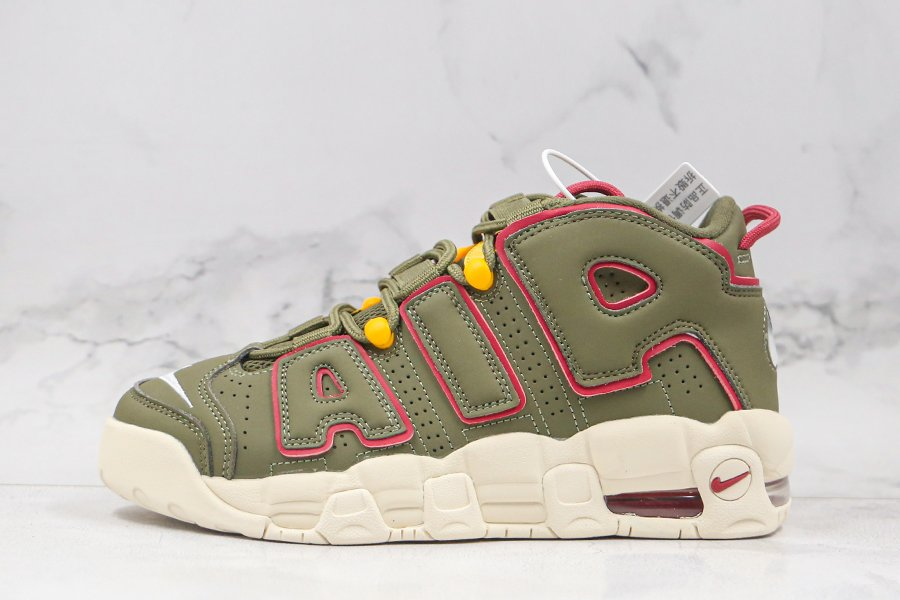 Nike Air More Uptempo Cargo Khaki Olive Red DH0622-300 For Sale