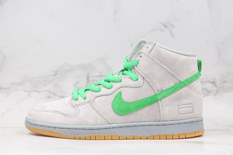 Nike SB Dunk High Silver Box Grey Suede Hyper Verde For Sale