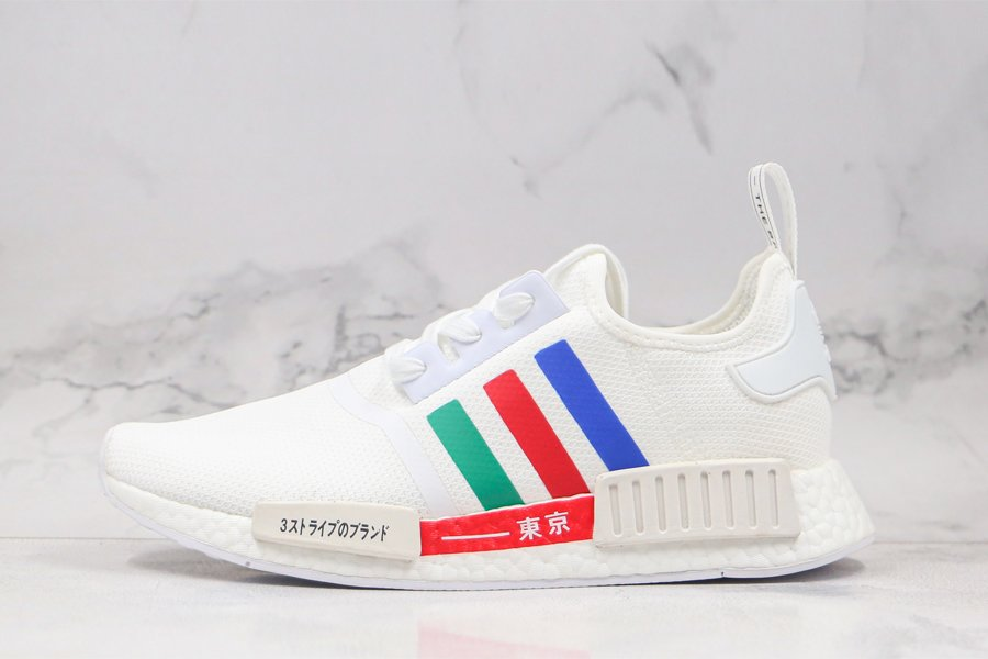 White adidas NMD R1 Tokyo Three Stripes Blue Red Green