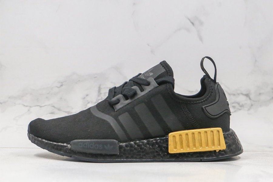 adidas NMD R1 Core Black Gold Metallic FV1787 For Sale
