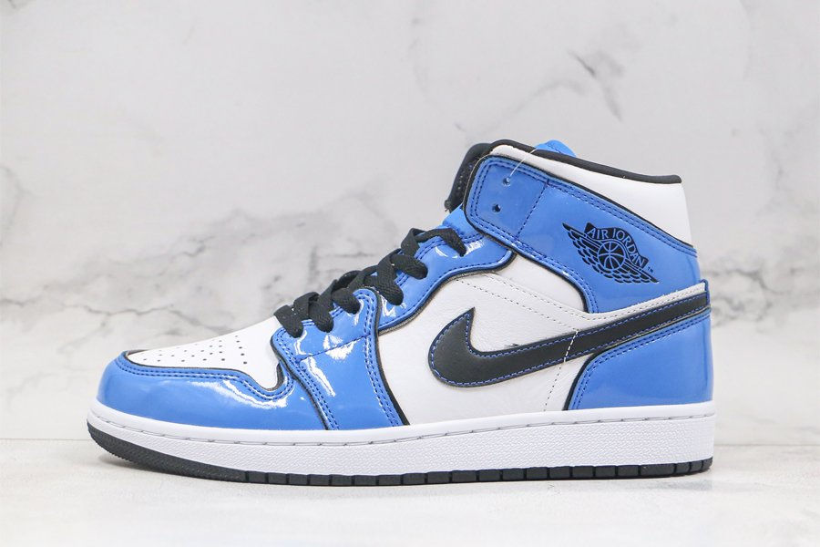 Buy Now Air Jordan 1 Mid Signal Blue With Patent Leather Uppers