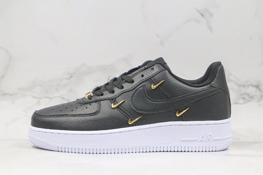 Nike Air Force 1 07 LX Black With Mini Gold Swoosh To Buy