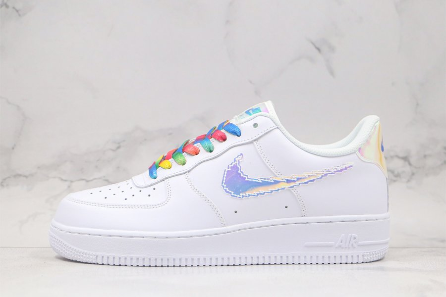 Nike Air Force 1 Iridescent Pixel Swoosh In White CV1699-100 To Buy