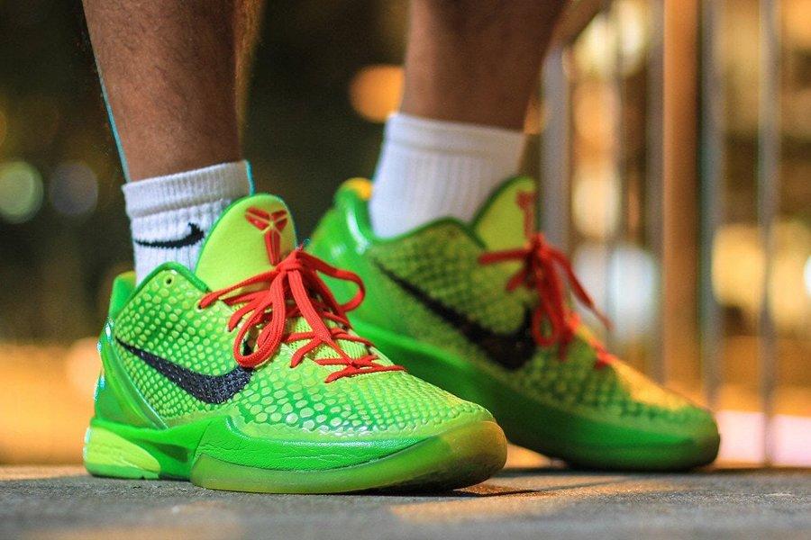 Nike Kobe 6 Protro Grinch On Feet