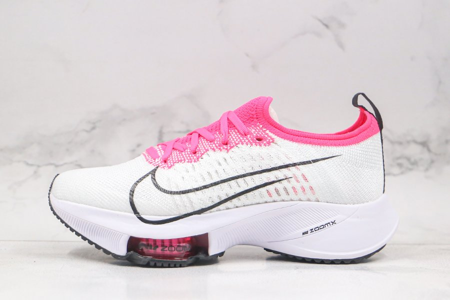 Womens Nike Air Zoom Tempo NEXT Flyknit White Pink Running Shoes